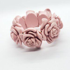 "Pink Acrylic Acetate Rose Bracelet 6.5"" * Vintage"